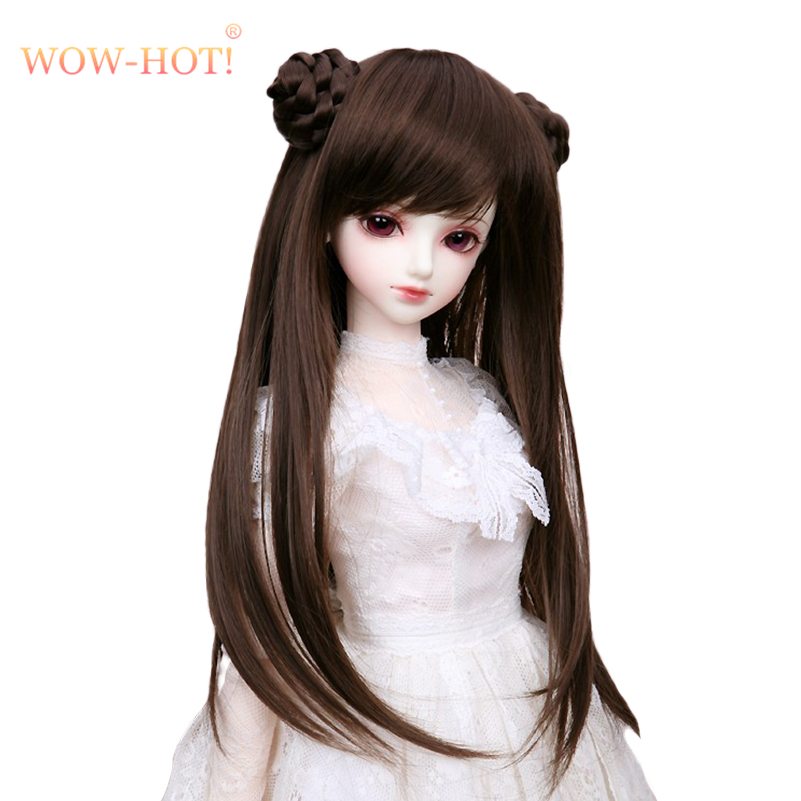 (17.5 -19 CM) 1/4 BJD Wig Retro Long Hair Straight Wigs with 2 Buns Doll Accessories, 1/4 BJD Doll Synthetic Hair for Dolls Toy classic femal long black wigs with neat bangs synthetic hair wigs for black women african american straight full wigs false hair