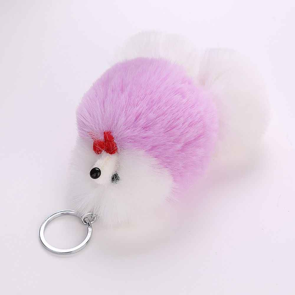 Pompom fofo Faux Rabbit Fur Bola Chaveiro Cão Bonito Animal Cão Da Corrente Chave Chaveiro Saco Titular Charme Bugiganga Chaveiros De Pele presente