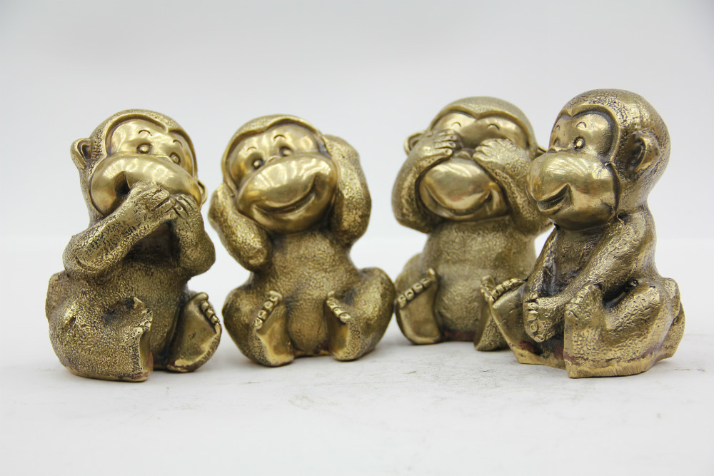Stunning Handcraft Br Bronze Four Do Not Monkeys Statue See No Evil Hear Speak Move On Aliexpress Alibaba Group
