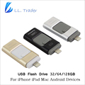 Comerciante ll unidad flash de 64 gb 128 gb ios para iphone ipad ipod Android OTG USB 2.0 Memoria Pendrive De Almacenamiento Mini USB Flash Drive disco