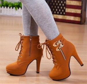Image 5 - Новые женские ботильоны на платформе и высоком каблуке, женская обувь на шнуровке, женские короткие ботинки с пряжкой, Повседневная Дамская обувь