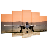 5 Panels Hd Printed Plane Canvas Wall Art Jet Aircraft Plane Canvas Painting Poster For Living
