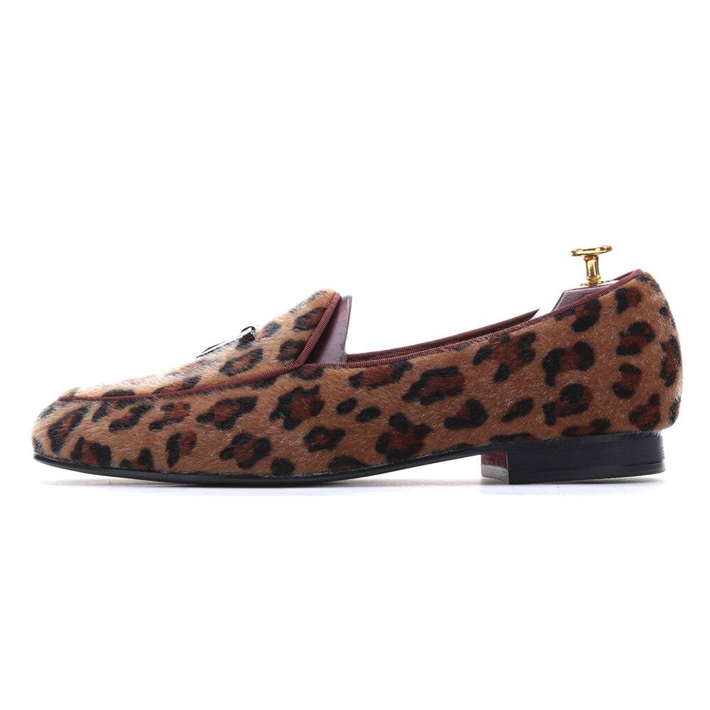 Marque New Arrival main Hommes Leopard Chaussures de velours avec petite cravate et Tongue ronde Mode bal banquet Mocassins jG6Rw