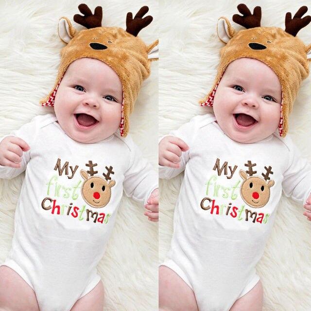 65bed1159887 Hot sale Cotton Deer My 1st Christmas Newborn Baby Boy Girls Romper Bodysuit  Jumpsuit Outfit Clothes