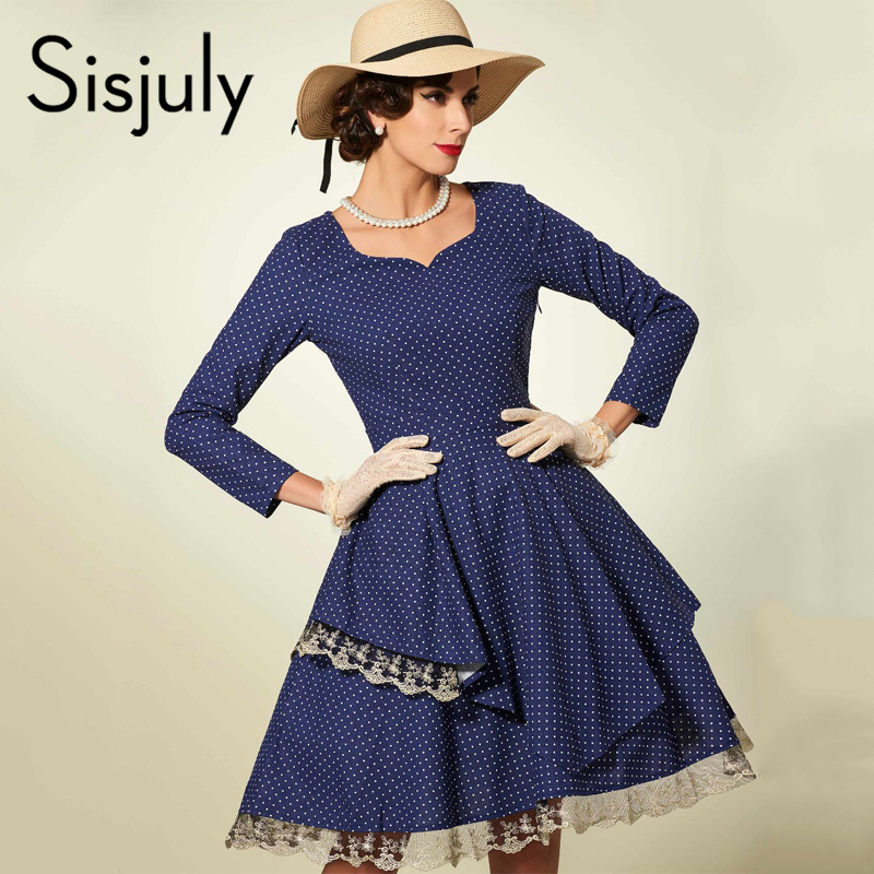 Mini Scoop Dress Vintage Fashion Sexy Women Blue Lace Line Cozy pink Dresses Female A 1950s Polka Party Patchwork Dots Daily burgundy Sisjuly FfTWqwnf