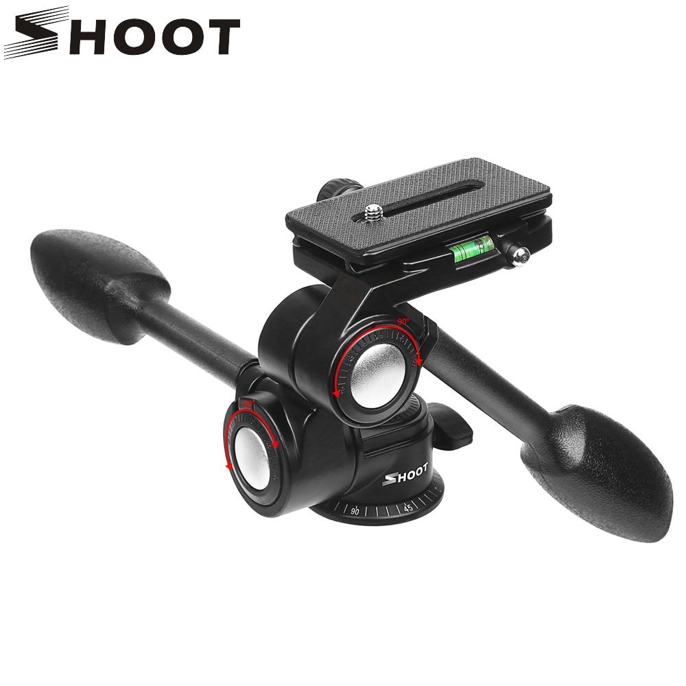 SHOOT Double Handle Aluminum Camera Tripod Ball Head 3-way Fluid Head Rocker Arm For Canon Nikon DSLR Video Load 10KG