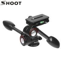SHOOT Double Handle Aluminum Camera Tripod Ball Head 3 way Fluid Head Rocker Arm for Canon Nikon DSLR Video Load 10KG