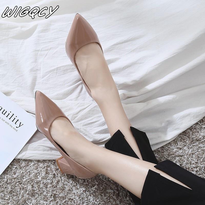 2019 New Women's Feet Glossy PU Women Brand Designer Luxury Women Shoes Prom Wedding Shoes Thin Heels Pointed Toe High Heels