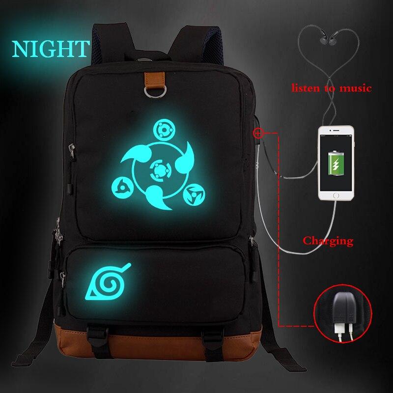 Большой Вместительный рюкзак Светящийся рюкзак Наруто Аниме рюкзаки унисекс школьные сумки Дорожная сумка для колледжа Bookbag зарядка через