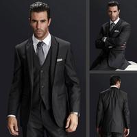 Hot Selling Men Suit Jacket Pant Vest Black Lapel Fashion Men Suits Custom Made Slim Fit