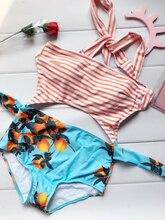 2017 New One Piece Stripped Swimsuit Bathing Suit Swimwear Beachwear For Women