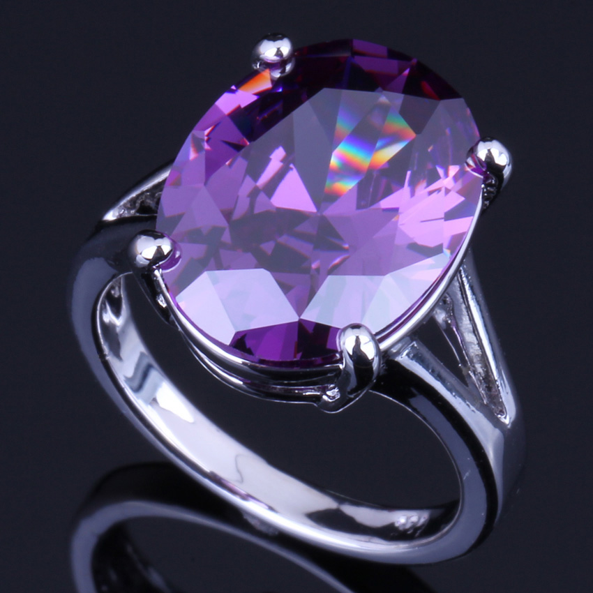 Ravishing Pigeon Egg Purple Cubic Zirconia 925 Sterling Silver Ring For Women V0072