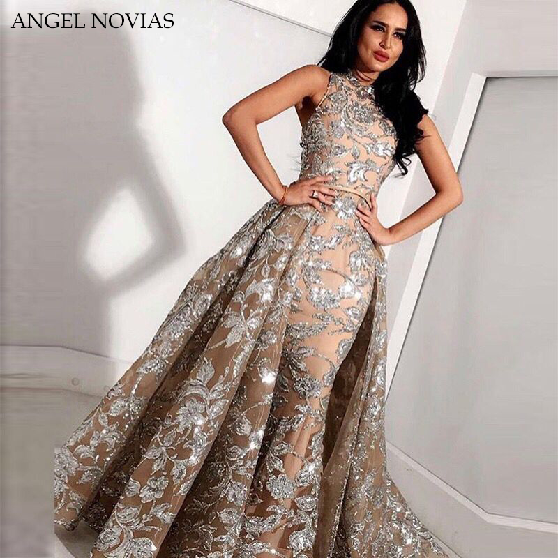 Long Grey Champagne Lace Mermaid High Neck Arabic Evening Dress 2018 kaftan Dubai Formal Evening Gowns with Detachable Skirt
