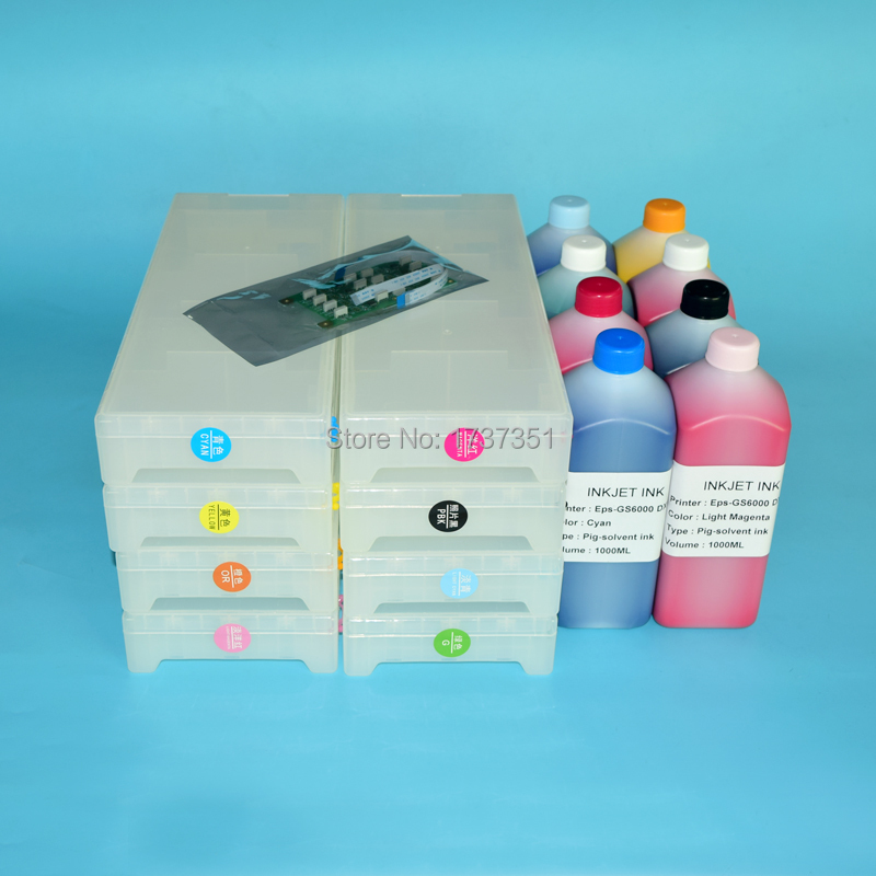 t6241 t6241-t6248 8color 1800ml empty refill ink cartridge+chip decoder+Eco-solvent ink for Epson Stylus Pro GS6000 printer free shipping 6 colors eco solvent ink for epson stylus photo t50 printer ink