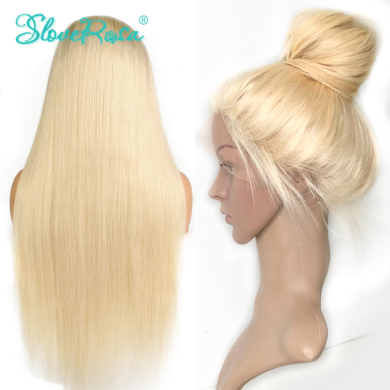 Full Lace Human Hair Wigs Blonde 613 Color Malaysia Wig Remy Hair 150 Density Straight Hair