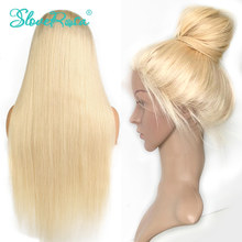 Full Lace Human Hair Wigs Blonde #613 Color Malaysia Wig Remy Hair 150% Density Straight Hair With Bleached Knots Slove Rosa(China)
