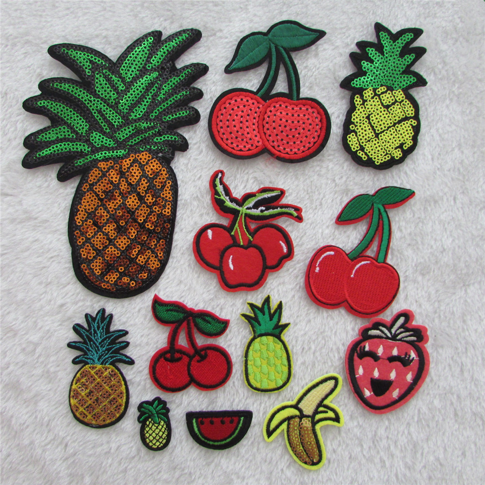 2016 year New Arrival different fruit hot melt adhesive applique embroidery patches stripes DIY clothing accessor C610-C2077