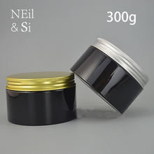 שחור 300 גרם פלסטיק צנצנת קרם 300 ml קוסמטי איפור פנים מסכת קרם אריזה ריק ממתקי גלולת אחסון בקבוק משלוח חינם