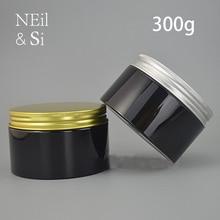 Zwart 300g Plastic Zalfpotje 300 ml Cosmetische Make up Gezicht Masker Lotion Verpakking Lege Snoep Pil Opslag Fles gratis Verzending