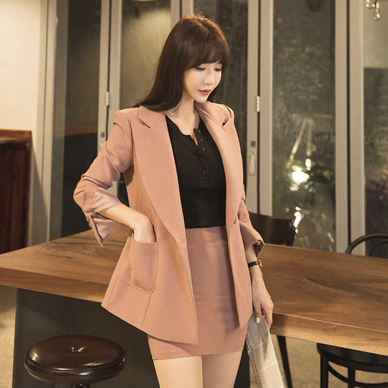 e34d9329fc567 Fashion Solid Skirt Suits for Women Notched Double Breasted Blazer Jacket & Mini  Skirt Female Suits
