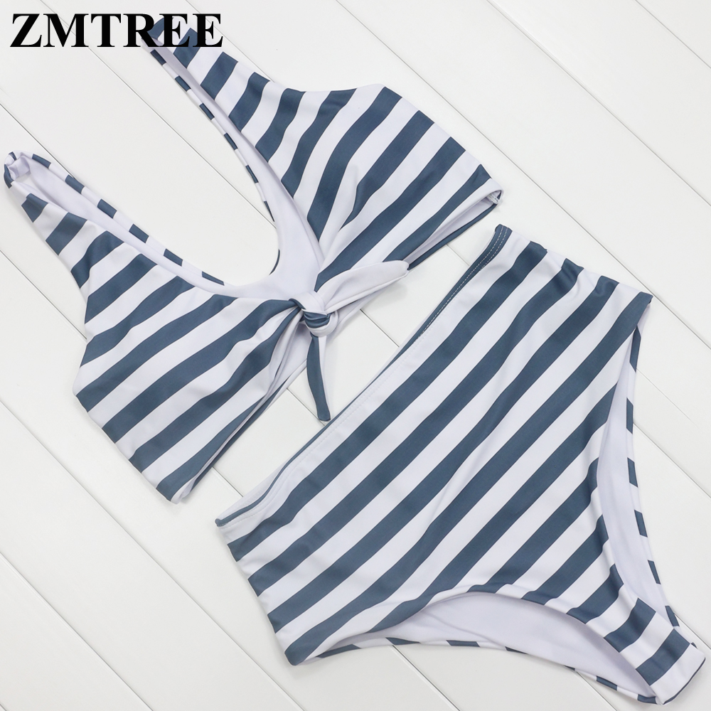 ZMTREE High Waist Biquini Woman Bikini Swimwear 2017 Bikini Set Striped Beachwear Bathing Suit Grils Swimsuit Maillot De Bain