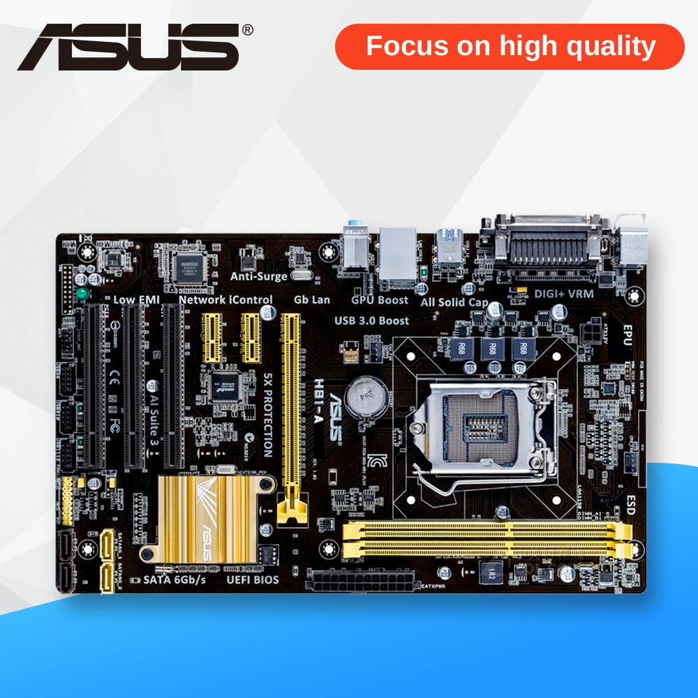 Asus H81-A Desktop Motherboard H81 Socket LGA 1150 i7 i5 i3 DDR3 16G SATA3 USB3.0 ATX On Sale купить