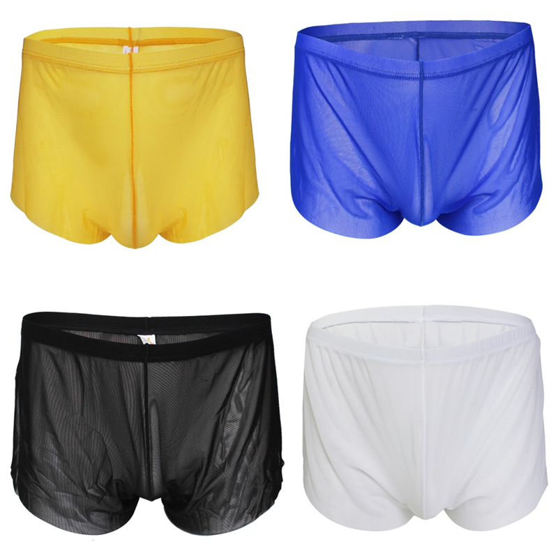 New Mesh Sheer Bulge Sexy Mens Underwear boxer briefs shorts Trunks Shorts