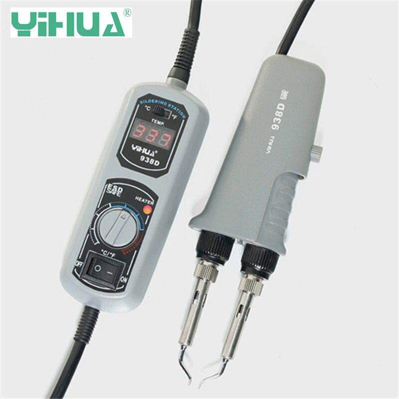цена на YIHUA 938D 110V/220V Portable Hot Tweezers Mini Soldering Station for BGA SMD Repairing EU/US/UK/AU PLUG