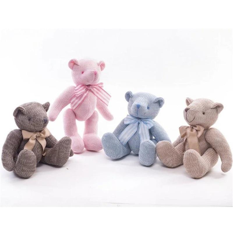 2017 New High Quality Bowknot Plush Toys Knitting Teddy Bear Doll Kawaii Small Plush Toys Stuffed Fluffy Bear Dolls Toy Gifts
