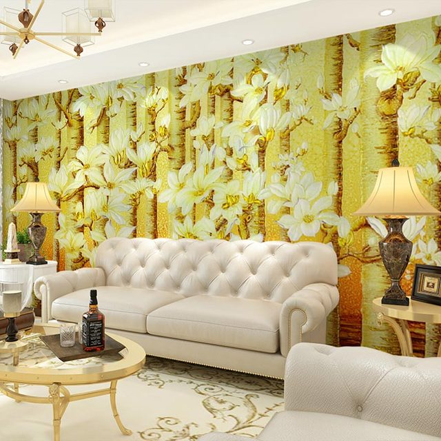 Large Wall Papers Painted Tree Photo Wallpaper Mural 3 D Living Room ...
