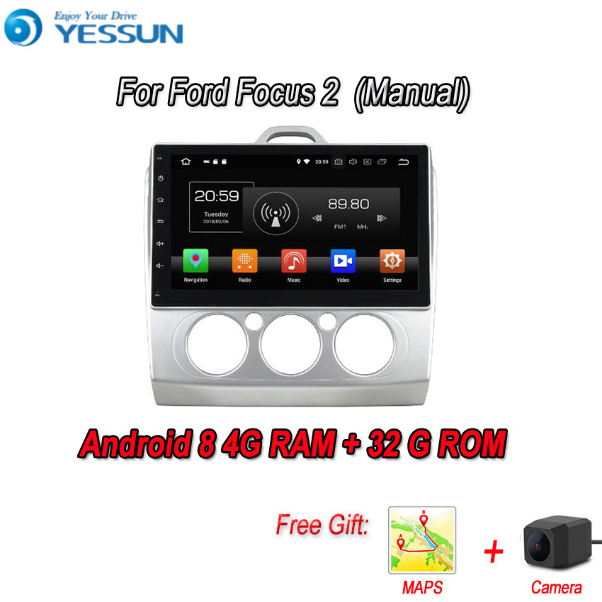 YESSUN 2 din Android 8.0 4G RAM For Ford Focus 2 Car Navigation GPS Multimedia Player mirror link Radio Touch Screen Autoradio