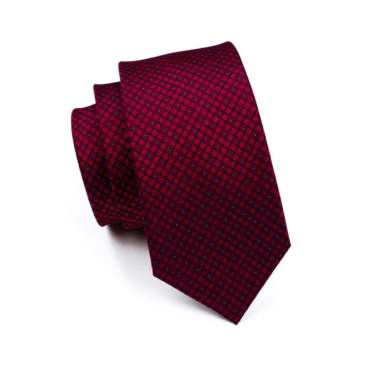 FA-704 erkek kravat kırmızı ekose ipek jakarlı boyun kravat kravat Hanky kol düğmeleri Set bağları erkekler İş düğün parti ücretsiz kargo