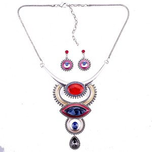 Image 4 - MS1505054 Vintage Jewelry Sets Blue Red Color Antique Silver Plated High Quality Necklace Earrings Set Tibet Design