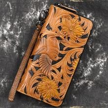 Wallet Clutch-Bag Zipper Vintage Genuine-Leather Unisex for Flower Long Purse Embossing