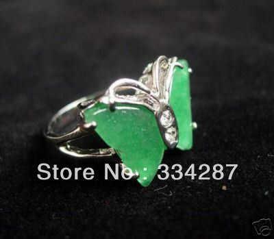 ที่สวยงามสีเขียวหยกผีเสื้อแหวนขนาด7 8 9 #