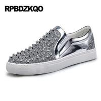 Rivet Glitter Silver Skate Stud Hip Hop Fashion Black Shoes Men Elevator Dandelion Slip On Sneakers Hot Sale Autumn Popular
