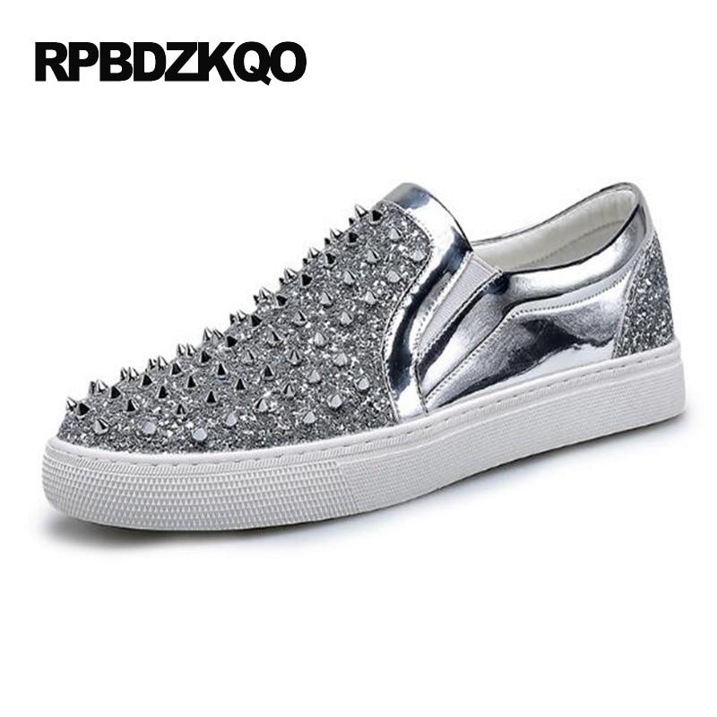 Rivet Glitter Silver Skate Stud Hip Hop De Mode Noir Chaussures Hommes Ascenseur Pissenlit Glissement Sur Sneakers Vente Chaude Automne Populaire
