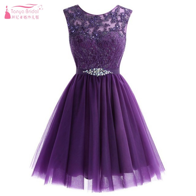 A Line Purple Lace Tulle Knee Length   Bridesmaid     Dresses   Junior Sweety Wedding Guest Formal Party   Dress   Gown JQ76