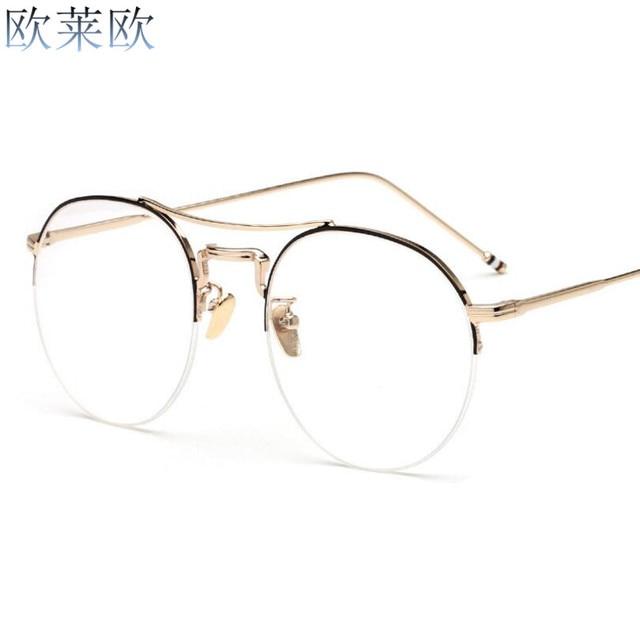 4939eeb53 جديد عادي مرآة النظارات دائري نظارة بإطار معدني للنساء و الرجال قصر النظر  النظارات إطار نظارات