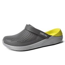 Letnie buty na plażę kobieta kapcie na zewnątrz oddychające sandały mężczyźni przeciwpoślizgowe slajdy pary klapki Slip on Crocse Zapatillas