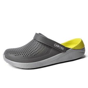 Image 1 - Summer Beach Shoes Woman Outdoor Slippers Breathable Sandals Men Antiskid Slides Couples Flip Flops Slip on Crocse Zapatillas