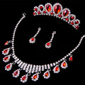 New Fashion luxurious Red Crystal Bridal jewelry sets Silver Necklace sets for Bride elegant Wedding jewelry set Accessories