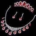 Nova Moda de luxo Cristal Vermelho conjuntos De jóias de Noiva conjuntos De Colar De Prata para a Noiva elegante conjunto De jóias de Casamento Acessórios