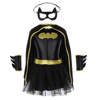 Girls Batman Halloween Costumes Fancy Tutu Dress Batgirl Kids Costume Child Batman Outfits Party Dressing Up