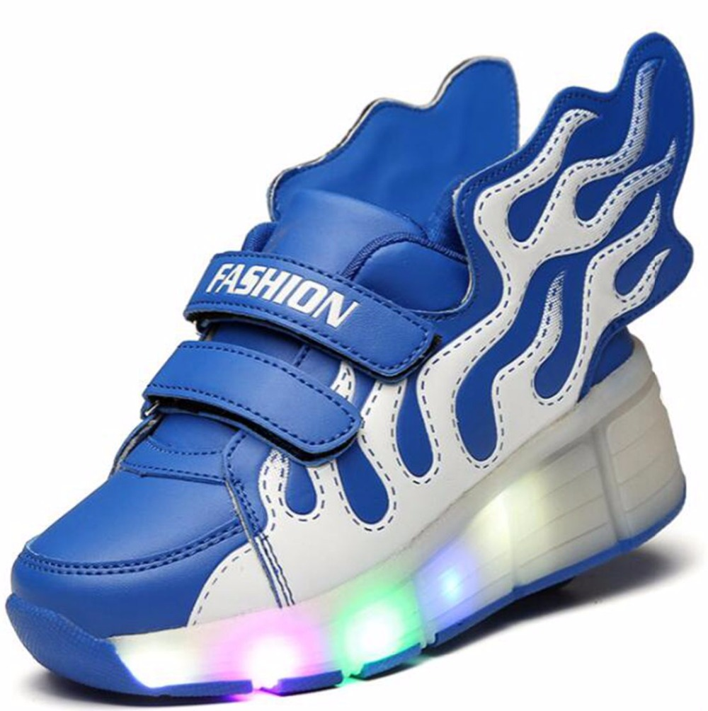 Roller shoes - 2017 Kids Shoes With Wheel Boy Casual Roller Shoes With Wings Glowing Led Trainer Girls Lighted