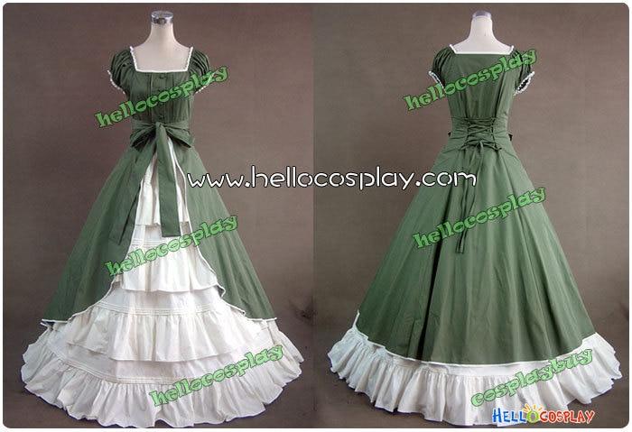 Colonial Cosplay Lolita robe verte robe de bal Promess H008