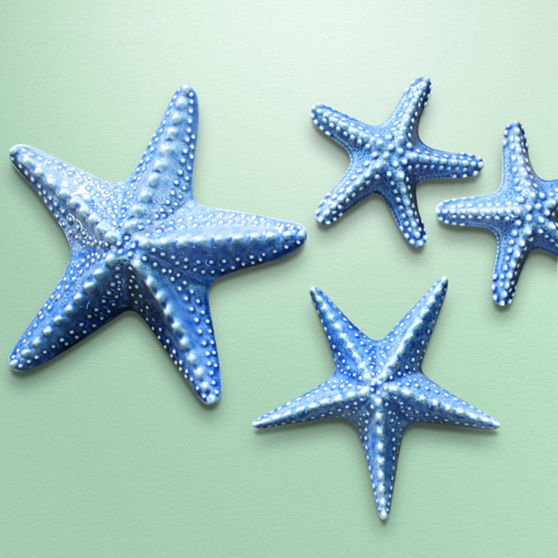 ceramic Mediterranean starfish decorative wall dishes home decoration accessories study starfish crafts room wall decoration