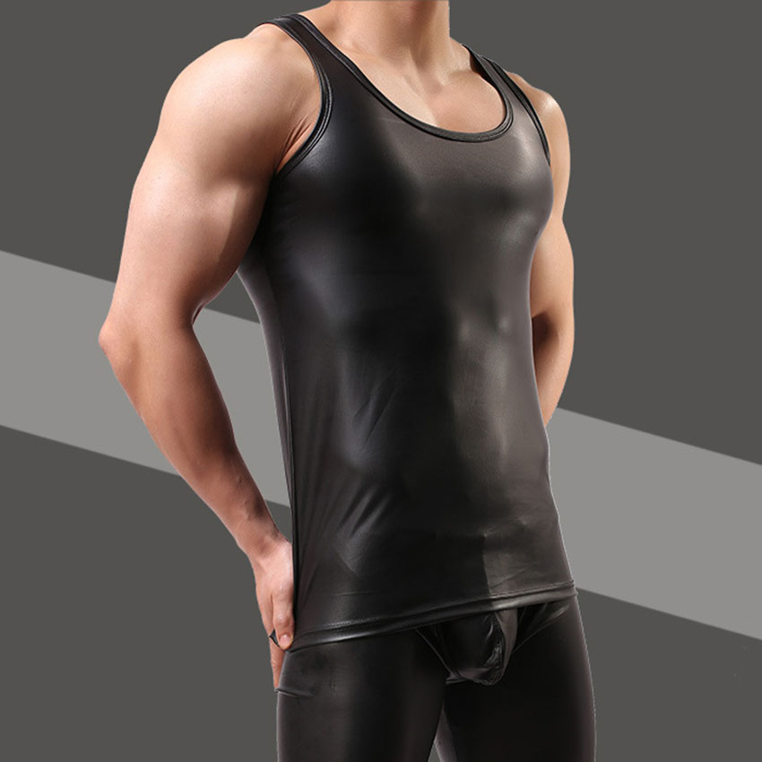 2017 New Arrive Imitation Leather Vest Mens Tops Summer Sexy Vests Men Tank Tops Solid Color Leather Slim Fit Cool Male Clothes
