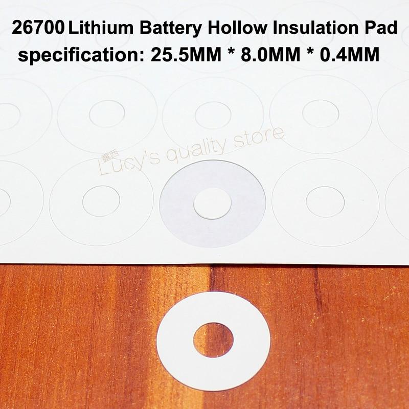 Купить с кэшбэком 100pcs/lot 26700 Lithium Battery Negative Solid Insulation Mattress Meson Barley 26650 Positive Hollow Gasket Accessories