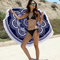 Fashion Turkish Throw Roundie Mandala Circular Round Printed Cotton Large Beach Bath Towels with Tassels